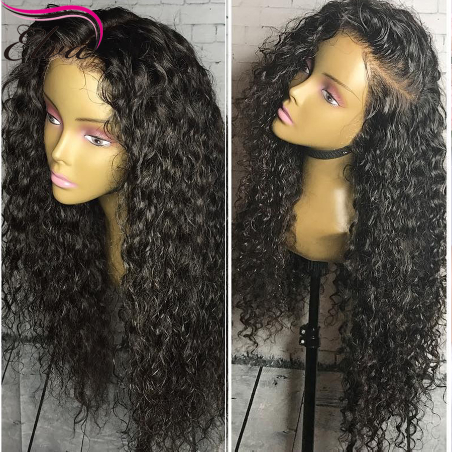 360 Lace Frontal Wig Pre Plucked With Baby Hair Brazilian Remy Hair Lace Front Curly Human Hair Wigs For Black Women Elva Hair(China)