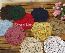PD034 Free shipping Shabby Chic Vintage Crocheted Doilies 20cm Handmade Crochet Coastet cotton lace cup mat 24pcs/Lot