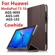 Case Cowhide For Huawei Mediapad T3 10 Smart Cover Protective Genuine Leather For Honor Play Tablet PC 2 ags-w09 l09 l03 Cases