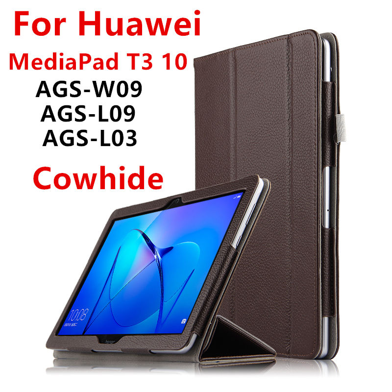 Case Cowhide For Huawei Mediapad T3 10 Smart Cover Protective Genuine Leather For Honor Play Tablet PC 2 ags-w09 l09 l03 Cases flip pu leather case for huawei t1 10 9 6 t1 a21w tablet case for huawei mediapad t1 t1 a21l t1 a23l honor note smart cover
