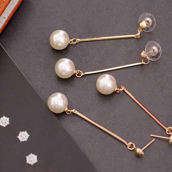 แฟชั่นจำลอง pearl Drop ต่างหูยาว Dangle โลหะ Rod ต่างหูผู้หญิงเครื่องประดับขายส่ง
