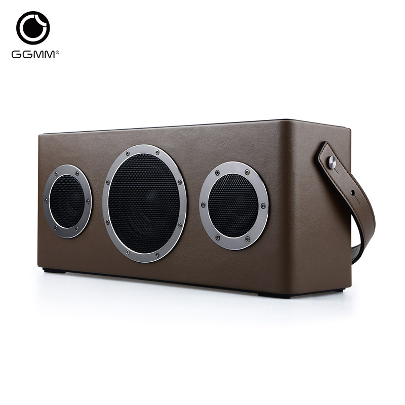 GGMM WiFi Outdoor Portable Bluetooth Wireless Speaker Rechargeable Battery Stereo Leather Subwoofer Speakers MP3 Music Player