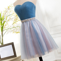 2019 New Elegant A line Cocktail Dresses Contrast Color Sweetheart Pleats Beading Blue Pink Tulle Knee Length Party Dress