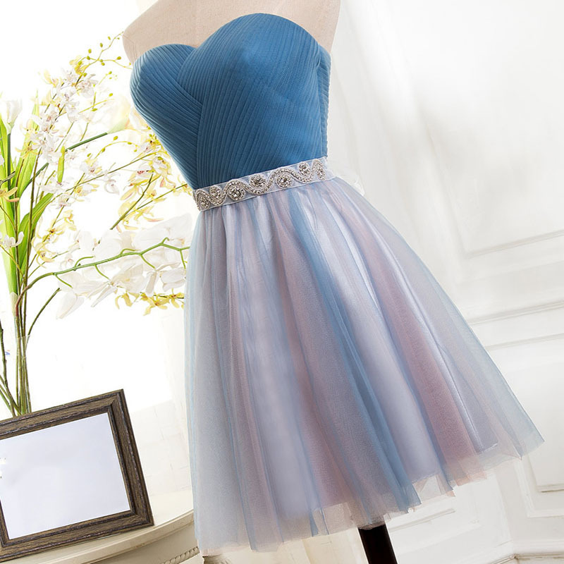 2019 New Elegant A-line   Cocktail     Dresses   Contrast Color Sweetheart Pleats Beading Blue Pink Tulle Knee Length Party   Dress