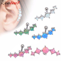 Louleur 2017 1pc Vintage Tragus Earring Piercing Ring 5 Shinning Opal Stone Ear Plugs And Tunnel