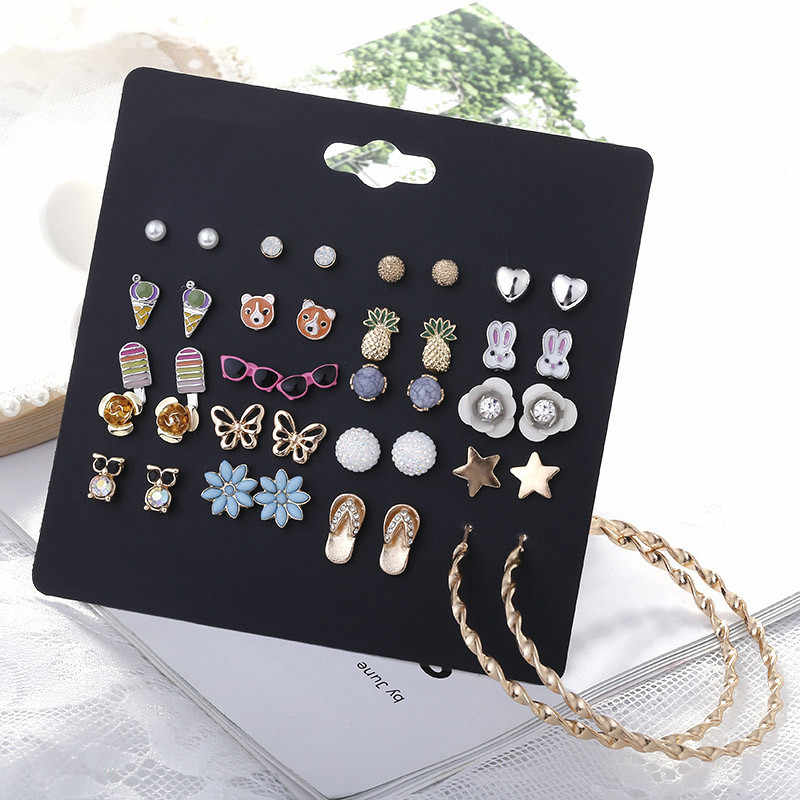 20 Pairs/lot Fruit Animal Crystal Charms Stud Earring for Women Fashion Flowers Owl Ladybird Cross Pentagram Ear Studs Jewellery