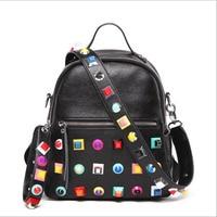 Free Shipping 2017 Fashion Rivet Women Bag Big Capacity Hit Colors Personality Backpack Chromatic Strap Handbag