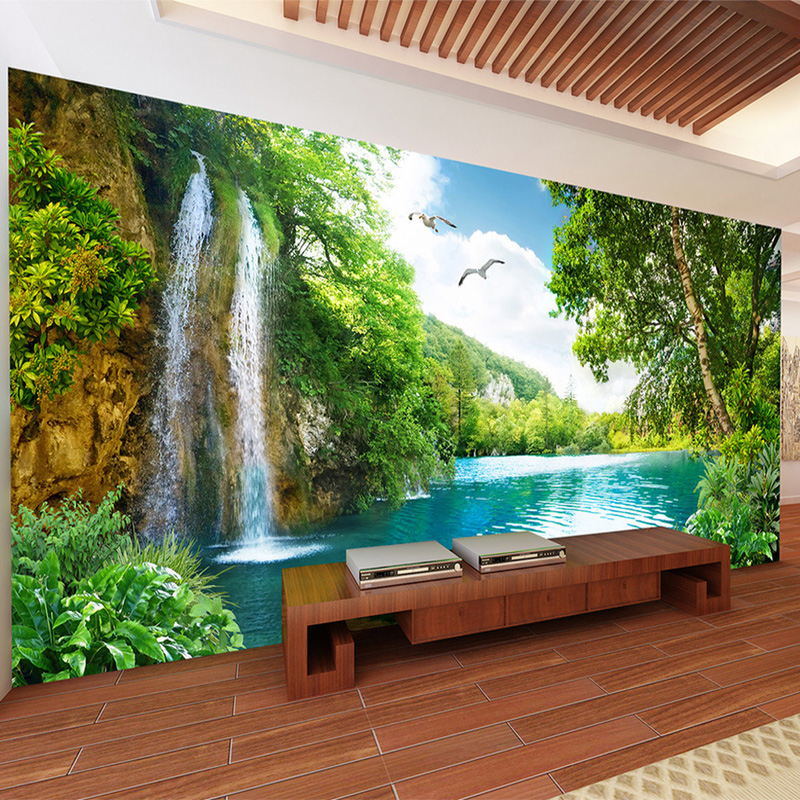 Custom Murals 3D Green Mountain Waterfall Nature Landscape Photo Wallpaper Wall Cloth Living Room Home Decor Wall Covering 3 D