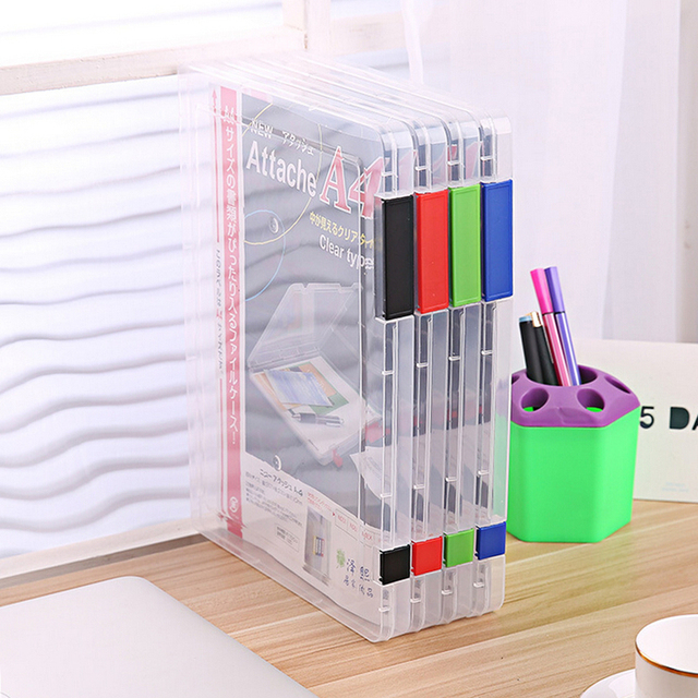 2 Colors A4 Transparent Storage Box Clear Plastic Document Paper Filling Case File PP Office Organizer Invisible Storage Cases