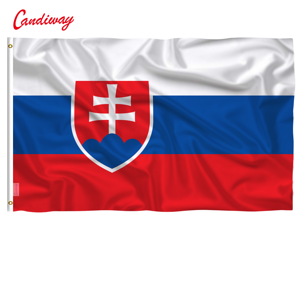 90 x 150cm  Slovakia national flag 100% polyster Anti-UV Digital Printing flag king Slovakia country banner  NN054