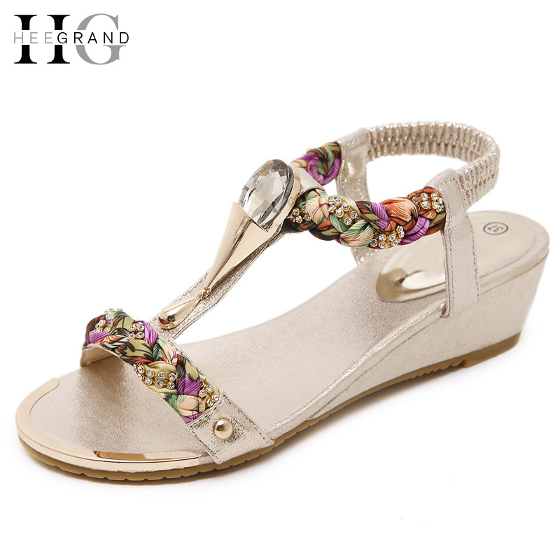 HEE GRAND 2017 Wedges Gladiator Sandals Bling Crystal High Heels Platform Gold Silver Shoes Woman Summer Women Shoes XWZ4235 phyanic crystal shoes woman 2017 bling gladiator sandals casual creepers slip on flats beach platform women shoes phy4041