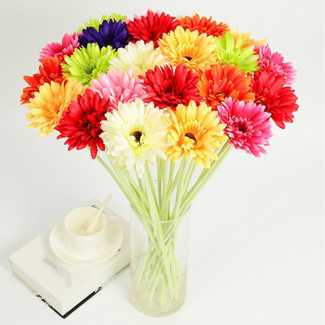 Online Shop 10 Pcs Single Head Silk Artificial Gerbera Daisy