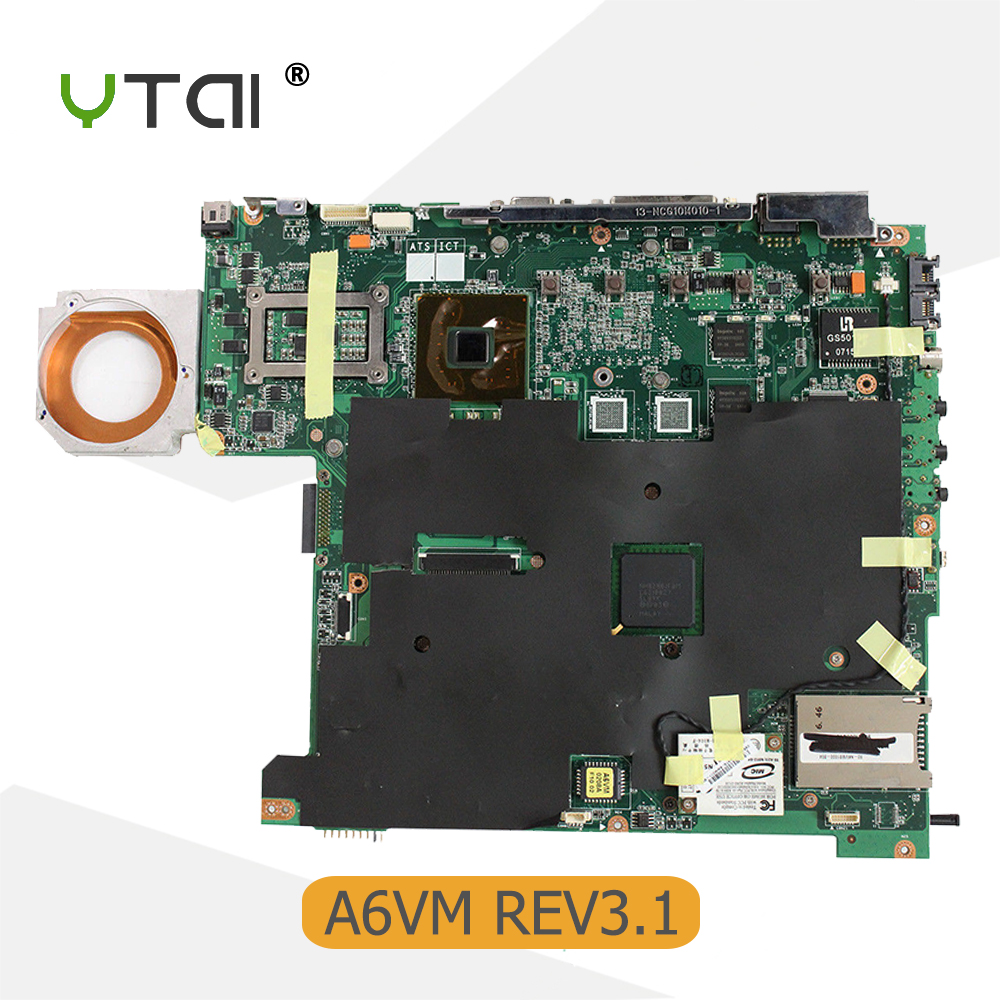 YTAI for ASUS A6VM laptop motherboard REV:2.1 P/N:08G26AM0031Q PGA479M mainboard with heatsink fully tested brand new for asus k53sd rev 6 0 motherboard rev 6 0 with i3 processor mainboard