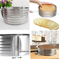 16 20 cm Cutter Metal Circle Adjustable Stainless Steel Mousse Cake Layer Cut Tools Cake Slicer Device Mold Bakeware Cooking Cak