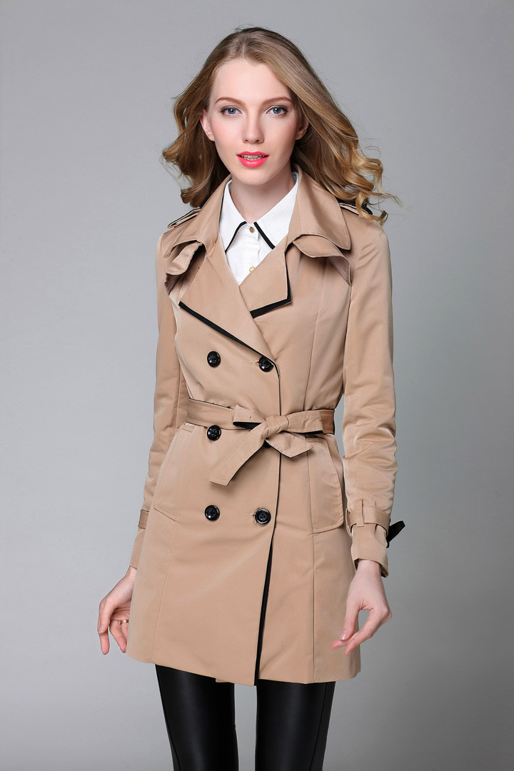 Womens   Trench   Coat Spring Autumn Double Breasted Slim Solid Black/Khaki Fashion Ladies Trenca Mujer Women Clothing Outwear S-3XL