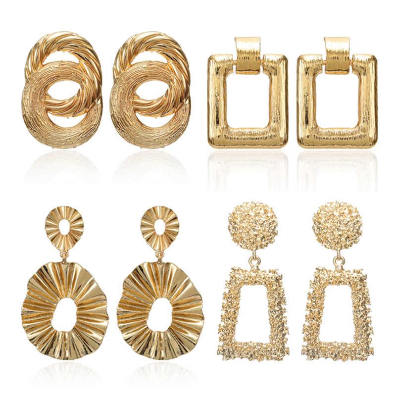 02ce855a4e8 Vintage Statement Earrings For Women Big Gold Silver Geometric Metal ...