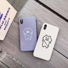 IMIDO The Cartoon Pig For iphone 6/7/8/X Case Cute Simple Anti-fall Lanyard Fashion Phone Back Cover TPU Soft Silicone