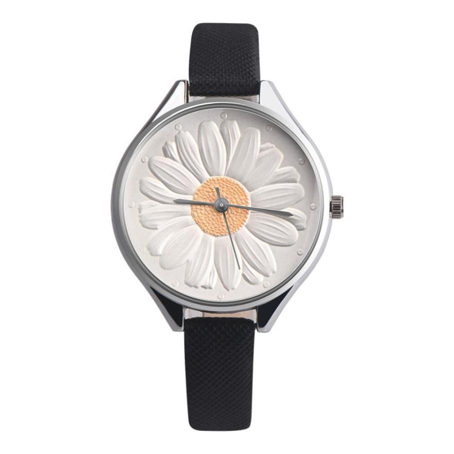 Kadın Ayçiçeği Retro Tasarım Deri Band Analog Alaşım Kuvars - Kadın Saatler - Fotoğraf 5