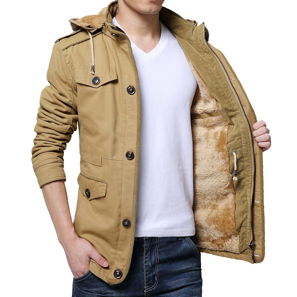 Jacket Men Winter Warm Jacket Overcoat Outwear Plus Size 5XL 6XL Slim Long Sleeve Solid Trench Buttons Zipper Coat