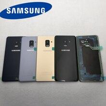 Do Samsung Galaxy A8 2018 A530 SM A530F A530F A530DS obudowa baterii tylna pokrywa ze szkła kamery osłona obiektywu + wodoodporna naklejka