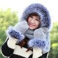 Winter Warm Hoodie Gloves Earmuff Snow Bomber Hat Outdoor Faux Fur Earflap Russian Earflap Long Scarf Shawl Snood Wraps Set