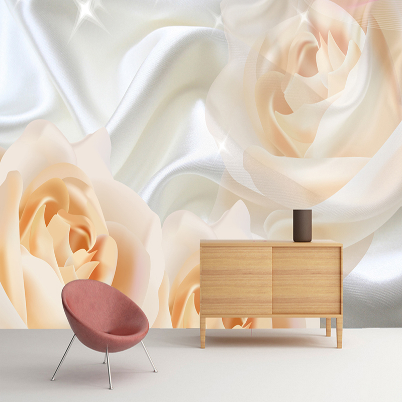 Custom Wall Mural Wallpaper For Bedroom Walls Modern Design Rose Flower Silk Non-woven Wallpaper Wall Painting Papel De Pared 3D non woven bubble butterfly wallpaper design modern pastoral flock 3d circle wall paper for living room background walls 10m roll