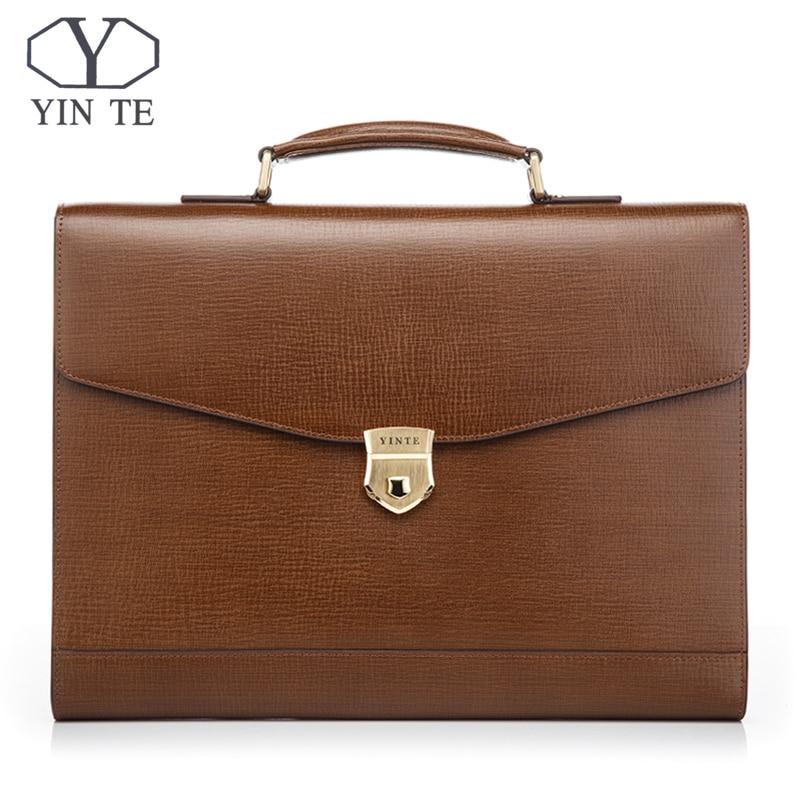 YINTE Men's Leather Briefcase Messenger Handbag Laptop Briefcase Office Bag Lawyer Teacher Business Hard Bags Portfolio T8570-4