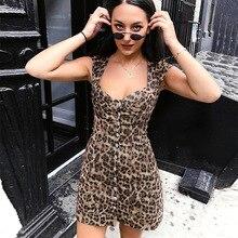 b1f8facc3566d9 NCLAGEN 2019 Women Sexy Leopard Printing Single Breasted Dress Slim Bustier  Bodycon Night Club Vestidos Dresses