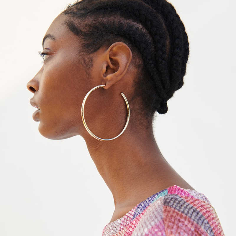 New Fashion Gold Color Big Circle Metal Hoop Earrings For Women Geometric Statement Round Earring Jewelry ZA 2019 Gifts