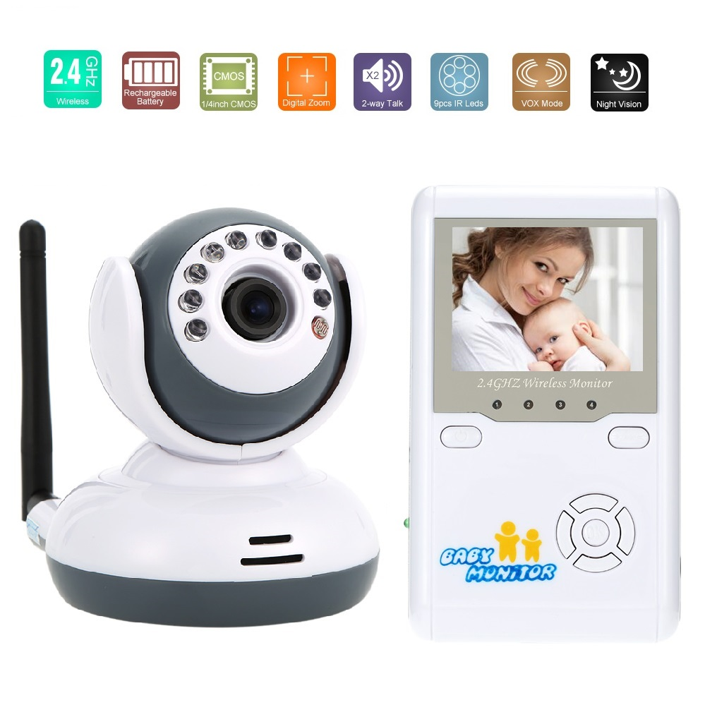 2.4inch video nanny radio babysitter IR Night Vision 2 way Talk Lullabies Zoom 4 CHs Battery wireless baby monitor baby monitors