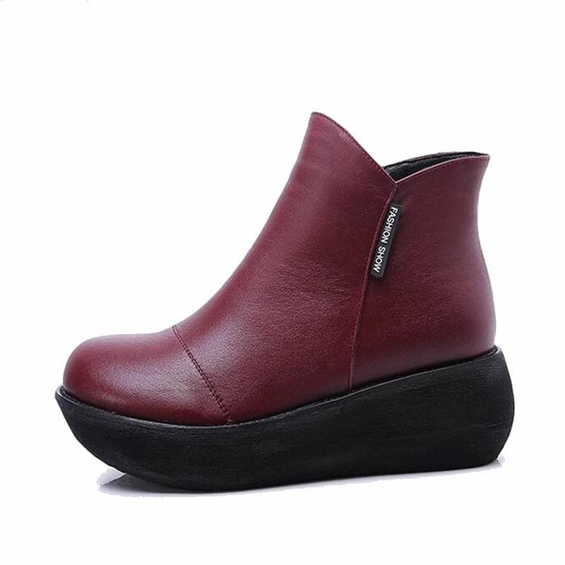 Caliente La Color Fur With red Nueva Genuino Casuales Mujeres Nieve De Yaerni Botas Black 2 Fur Invierno Las Moda Zapatos Mujer Cuero wqASB