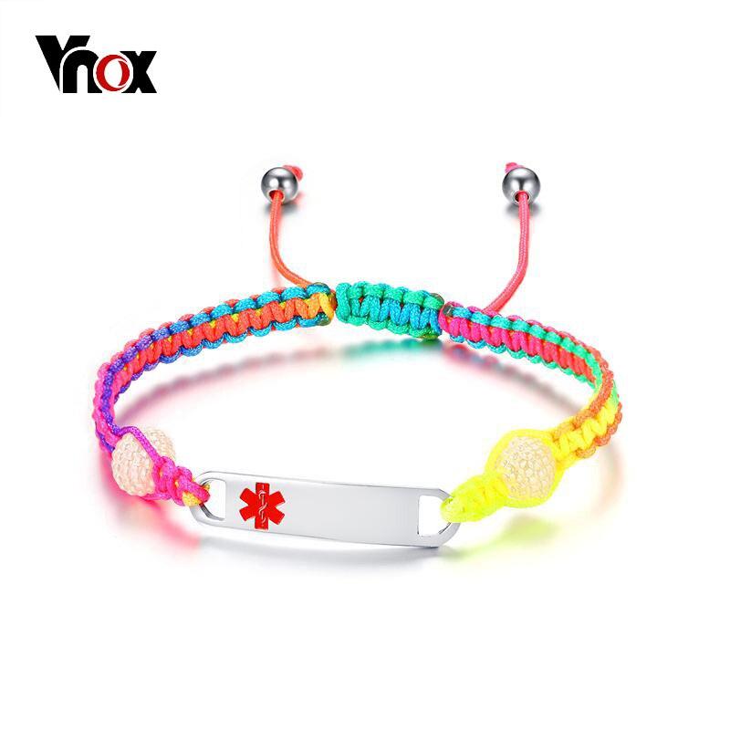 Vnox Free Engraving Girl Children Medicas