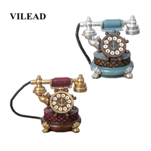 VILEAD 18cm Resin Telephone Figurines Miniatures Set Retro Wine Cabinet Creative European Living Room Bedroom Home Decoration