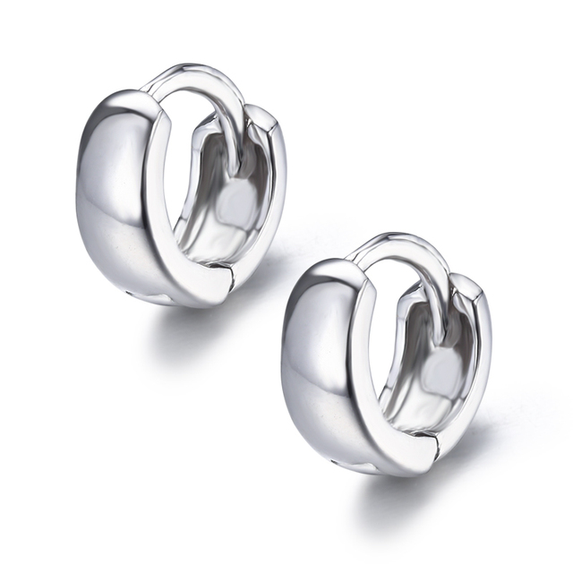 925c25049f61a US $5.19 35% OFF|Windshow 925 Sterling Silver Wide Circles Round Loop Small  Huggies Hoop Earrings Jewelry for Men Women Children Girls Kids Gift-in ...