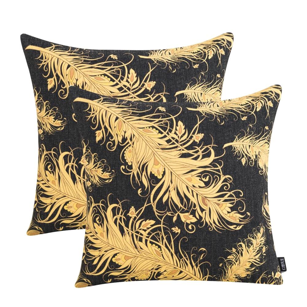 Vintage Geometric Black Gold Cushion Cover Cotton Linen