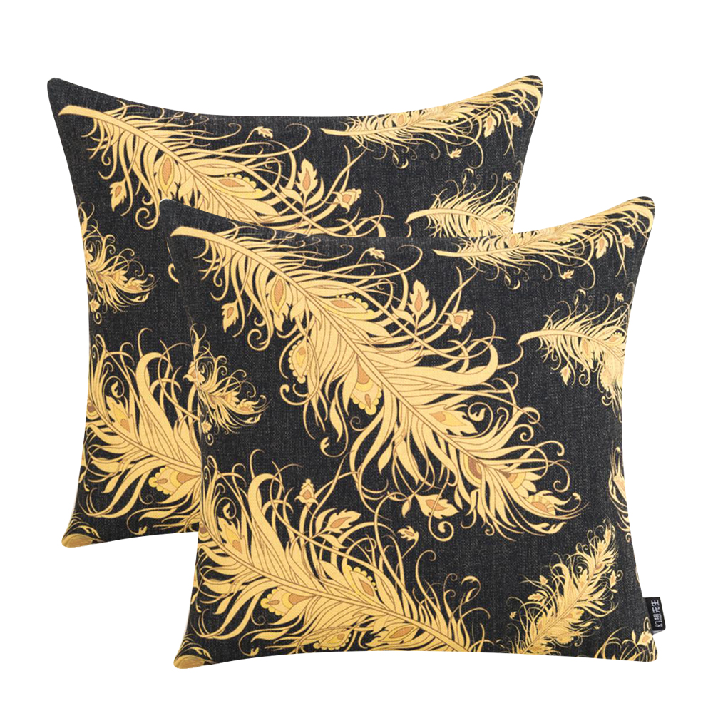 Vintage Geometric Black Gold Cushion Cover Cotton Linen Throw Pillow Cover Case for Sofa Couch Lumbar Cushion Home Decor 45x45cm