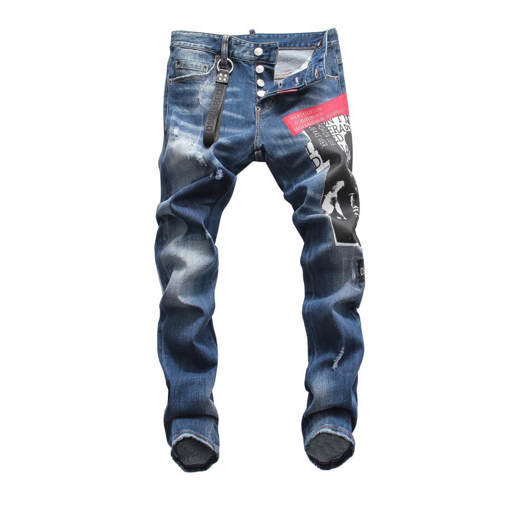 European American Famous Brand Design Jeans Pants Men Slim Jeans Denim Trousers Button Luxury Pencil Pants Jeans For Men 8045