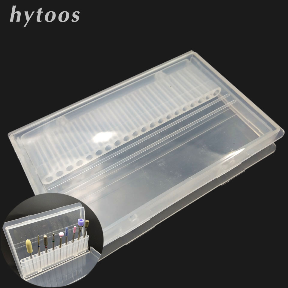 HYTOOS 20 Hole Nail Drill Bit File Holder Transparent Acrylic Plastic Display Stand Container Box For 3/32