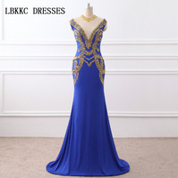 Elegant Scoop Mermaid Evening Dress Satin Embroidery Long Bridal Gown Royal Blue Party Prom Dresses Formal Dress Robe De Soiree