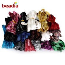 "5 yard/lot 3/8 "" Glitter single faced velvet ribbon velour webbing headband Hair band accessories white lace fabric 10MM(China)"