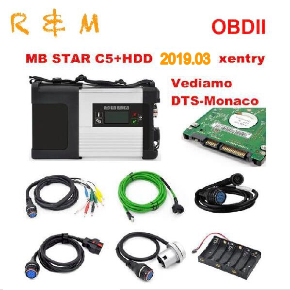 OBDII mb star c5 sd connect full set with 03 2019 HDD software Xentry DAS EPC