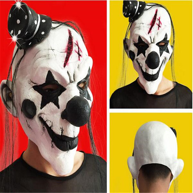 cool horror clown party mask latex face mask halloween party horrible scary masks woman man fools day fancy dress masquerade - Cool Masks For Halloween