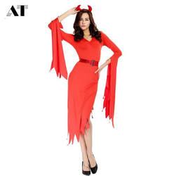 Женский костюм красного чертика костюм для взрослых женщин на Хеллоуин Косплей демона вечерние платье-фантазия