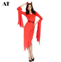 Female Red Devil Costume Adult Women Halloween Cosplay Demon Party Fantasia Dress