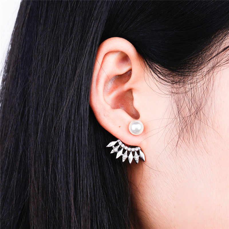 Wanita Baru Depan dan Belakang Crystal Anting-Anting Sisi Baris Tip Kecil Kristal Gaya Eropa dan Amerika Wanita Hadiah Perhiasan