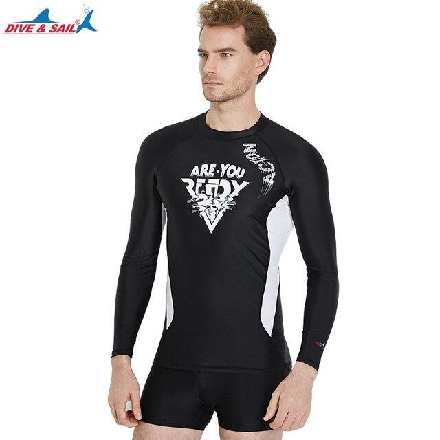 c2d74293e US $16.9 |Dive & Sail Men's Basic Long Sleeve Rashguard UV Sun Protection  Athletic Swim Shirt UPF 50+ Crew Neck T Shirt Black Swimwear-in Rash Guard  ...