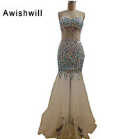 Real Photo Sexy Illusion Beadings Crystal Tulle See Through Dress Party Gowns Vestido De Formatura Longo