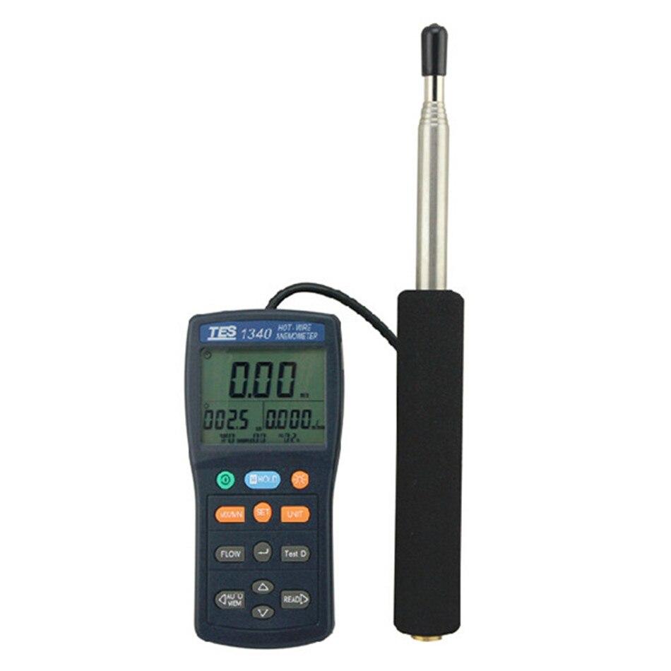 TES1340 Heißer Draht Thermo Anemometer HVAC Luftstrom Geschwindigkeit Meter Wind Durchflussmesser Nassen Wind chill Manuelle Datenspeicher in TES1340 ...