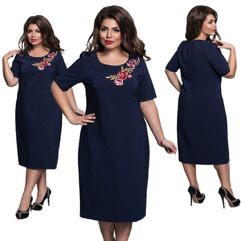 6XL Elegant Ladies Women Dress Fashion Sexy Party Plus Size Maxi Straight Dresses Casual Loose Large Sizes Slim Office Vestidos 1