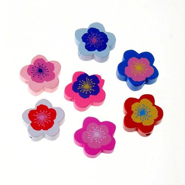 20 stücke 20mm Holz Farbstoff Blumen rundes Distanzscheiben korne ...